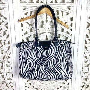 Handbags - Zebra Zipper Shoulder Tote